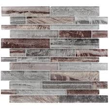 Kitchen Tile Backsplash Lowes Shop Allen Roth Shimmering Lights Linear Mosaic Glass Wall Tile