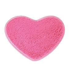sothread 40x28cm non slip bath carpet heart shaped mats bedroom area rug home decor hot pink