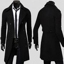 black wool trench coat for men
