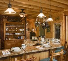 rustic kitchen lighting decor with wooden material
