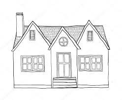 ヴィンテージ小さな家かわいい線画イラスト ストック写真 Gmm2000