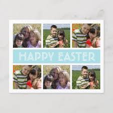 Postcard Collage Template Easter Photo Collage Postcard Template Blue