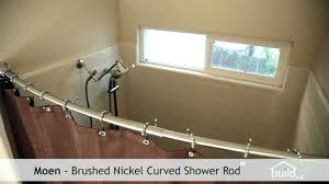 moen curved shower rod incorporated tension curved shower rod brushed nickel