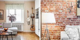 brick wall designs apartment interior design in scandinavian style with red