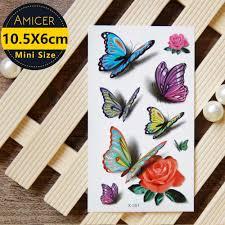 удивительный 3d бабочка роза флэш тату стикер временный боди арт