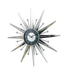 silver starburst wall clock retro eames danish modern  buy wall