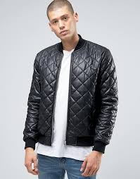 ASOS | ASOS Faux Leather Quilted Bomber Jacket In Black &  Adamdwight.com