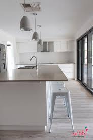 Lighting Pendants For Kitchen Islands Three Grey Concrete Pendant Lights Over Kitchen Island White