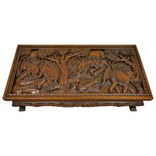 hand carved furniture.  Carved 20th Century Vietnamese HandCarved Asian Coffee Low Table With Elephant  Scene For Sale Hand Carved Furniture