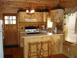 U Shape Rustic Kitchen Design Using Rustic Pine Wood Kitchen Walls