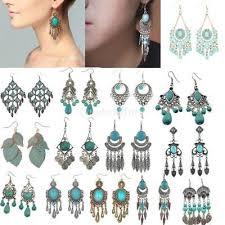 ethnic bohemian blue turquoise beads tassel dangle chandelier earrings jewelry