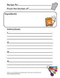 recipe template free recipe template teaching resources teachers pay teachers