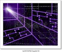Free Art Print Of Laser Circuit Background Showing Bright Energy