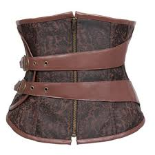 authentic leather belt brown brocade steampunk underbust corset