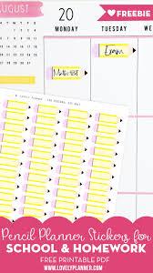Free Homework Planner Free Pencil School Homework Planner Stickers Lovely Planner