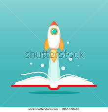 open book with rocket ship flying out isolated on blue background vector flat ilration