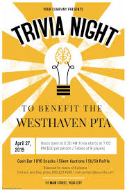 Trivia Quiz Night Poster Fundraising Poster Trivia Quiz