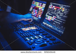 lighting technician. MOSCOW - 7 SEPTEMBER,2016 : Professional Concert Sound,stage Lighting Technician Work.