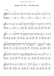 ed sheeran sheet music play popular music shape of you ed sheeran