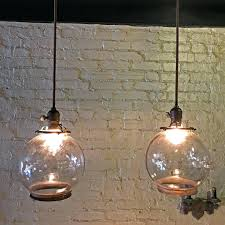 glass globe pendant light industrial pair of open clear glass globe pendant lights for large