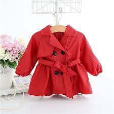 baby girl trench coat red faux leather windbreaker with belt velvet liner winter clothes a014 fashion