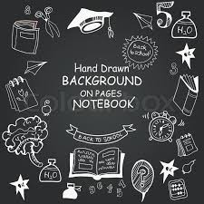 freehand drawing items on a sheet of exercise book stock vector colourbox