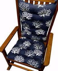 Coastal Coral Navy Blue Rocking Chair Cushions Latex Foam Fill