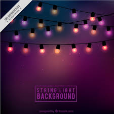 Background of cute string lights Free Vector
