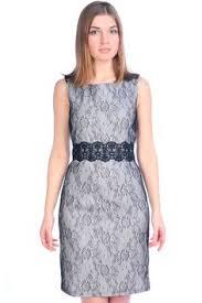 Приталенное <b>платье LAMANIA</b> с черными ажурными вставками ...