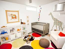 animal inspired nursery with multicolored rug