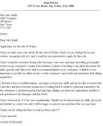 Waitress Cover Letter Sample 1 Waiter Example Techtrontechnologies Com