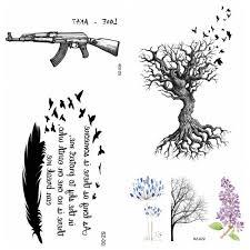 индейском стиле для боди арта эскиз Akm Ak47 временная тату наклейка для для мужчин