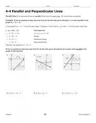 glencoe algebra 2 chapter 3 answer key awesome writing equations parallel and perpendicular lines worksheet