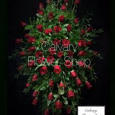 standard flower size red roses sympathy standing spray in los angeles ca calvary