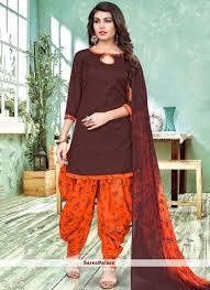 Different Neck Designs For Cotton Salwar Kameez Distinctively Brown And Orange Printed Work Work Cotton Patiala Salwar Suit