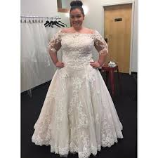 discount plus size wedding dresses 2017 lace off the shoulder half
