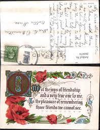 260474präge Litho Ak Freundschaft Blumen Mohnblumen Schnörkel