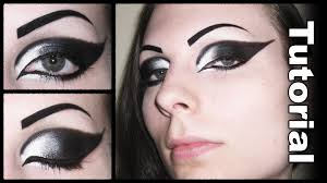 dramatic gothic white to black extended winged cat eye makeup