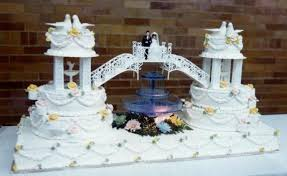 wedding cakes with fountains. Tiered Wedding Cakes With Fountains Unique Double Cake Connected By Bridge Bride Groom Intended