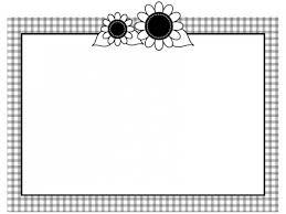 ひまわりのチェック模様白黒フレーム飾り枠イラスト 無料イラスト