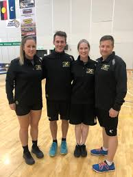 Our four referees for the national selection camp Bianca Vernon far left  Ethan Lloyd and Sophie Porter who are on the officials depth chart and  accredited referee Troy Earle far right |