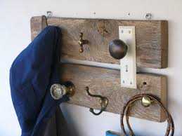 Antique Wooden Coat Rack Barn Wood Coat Rack made with Barn Hinge Antique Door Knobs and 76