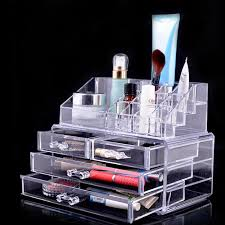 est cosmetic storage box transpa plastic acrylic display racks for women nail polish stand cotton swab organizer drawer in jewelry packaging