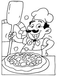 Kleurplaat Pizzabakker Pizzaria Kleurplatennl Coloring Pages