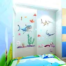 kids bathroom theme fish decor finding ocean sea cartoon baby nursery stickers removable vinyl mural art in wall from home bath
