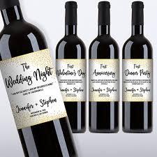 customized first marriage milestones wine bottle label set vers poem newlyweds gift gold confetti diy print printable pdf