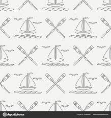 フラット ライン モノクロ ベクトル シームレス パターン海ボートと帆