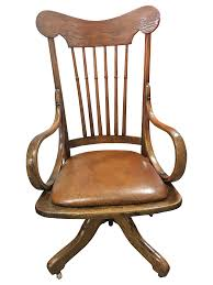 antique wood rolling office chair chairish