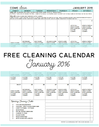 Come Clean Free Cleaning Calendar For January 2016 Clean Mama
