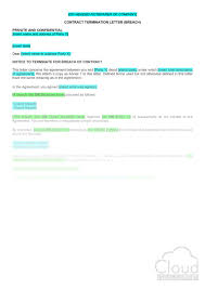 Letter To Terminate Contract With Supplier Contract Termination Letter Breach